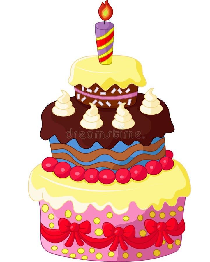 动画片生日蛋糕 向量例证 插画 包括有 庆祝 节假日 礼品 愉快 当事人 乐趣 点心 蜡烛