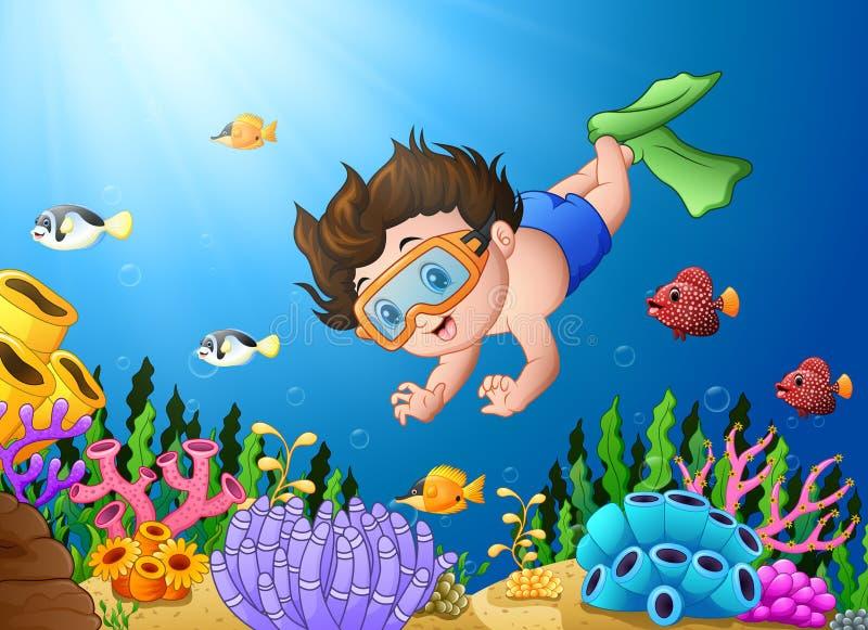 动画片男孩潜水在海 皇族释放例证