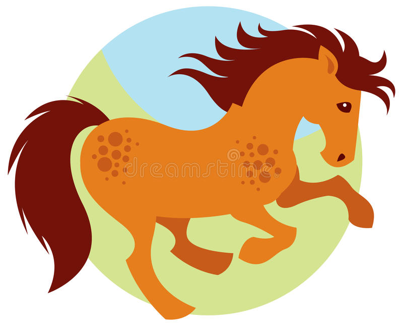 动画片疾驰的马 向量例证