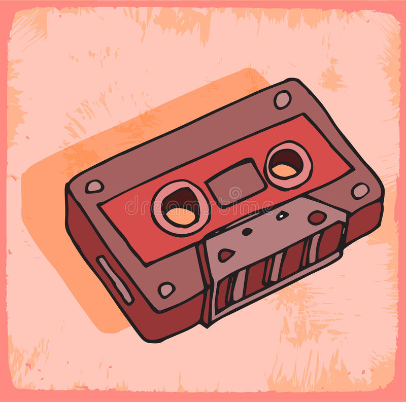 动画片盒式磁带例证,传染媒介象 库存例证