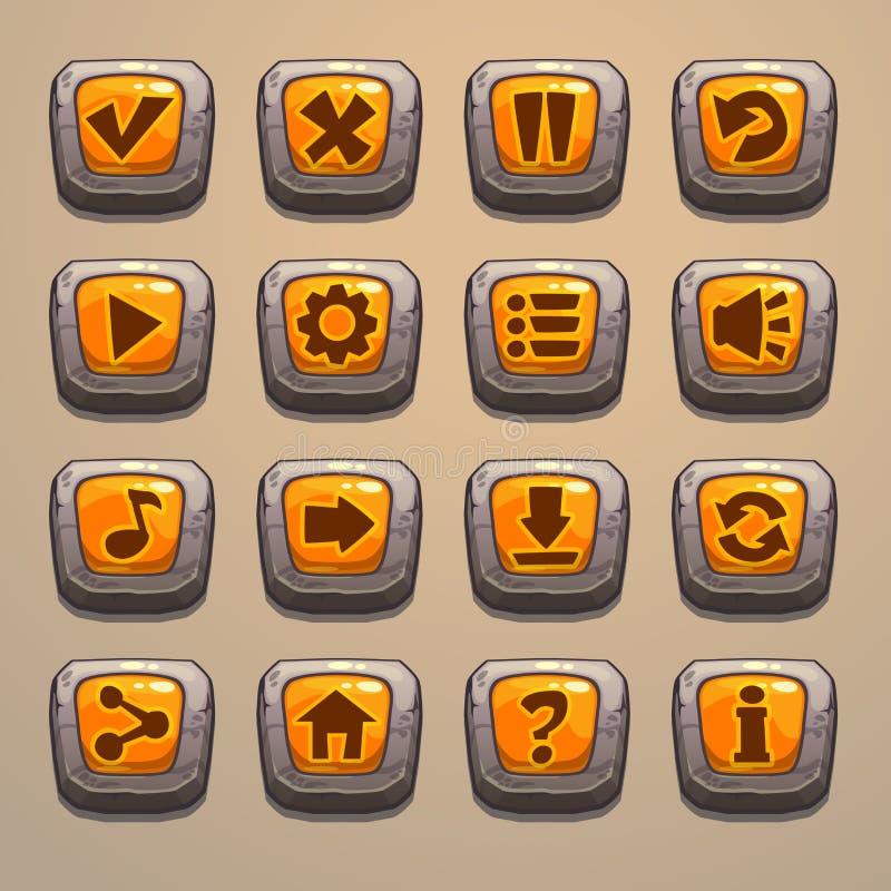 动画片石按钮 库存例证