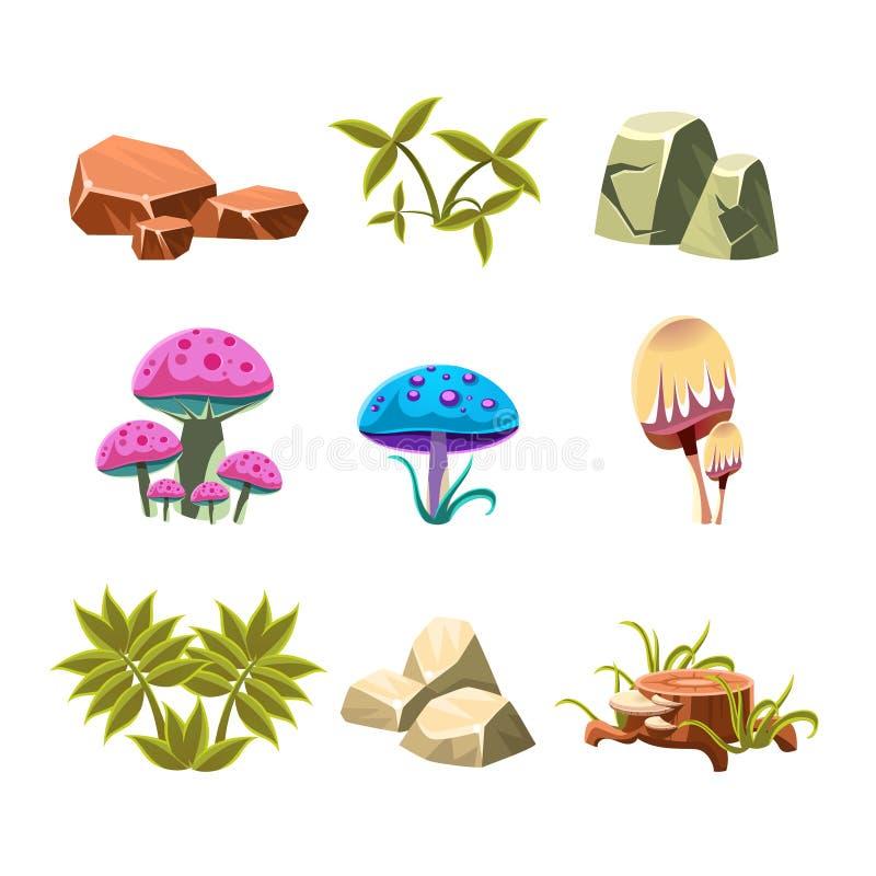 动画片石头、蘑菇和灌木被设置的传染媒介 向量例证