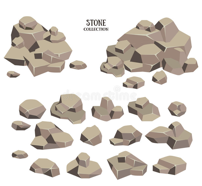 动画片石头集合 灰色岩石收藏 在空白背景查出的向量例证 库存例证