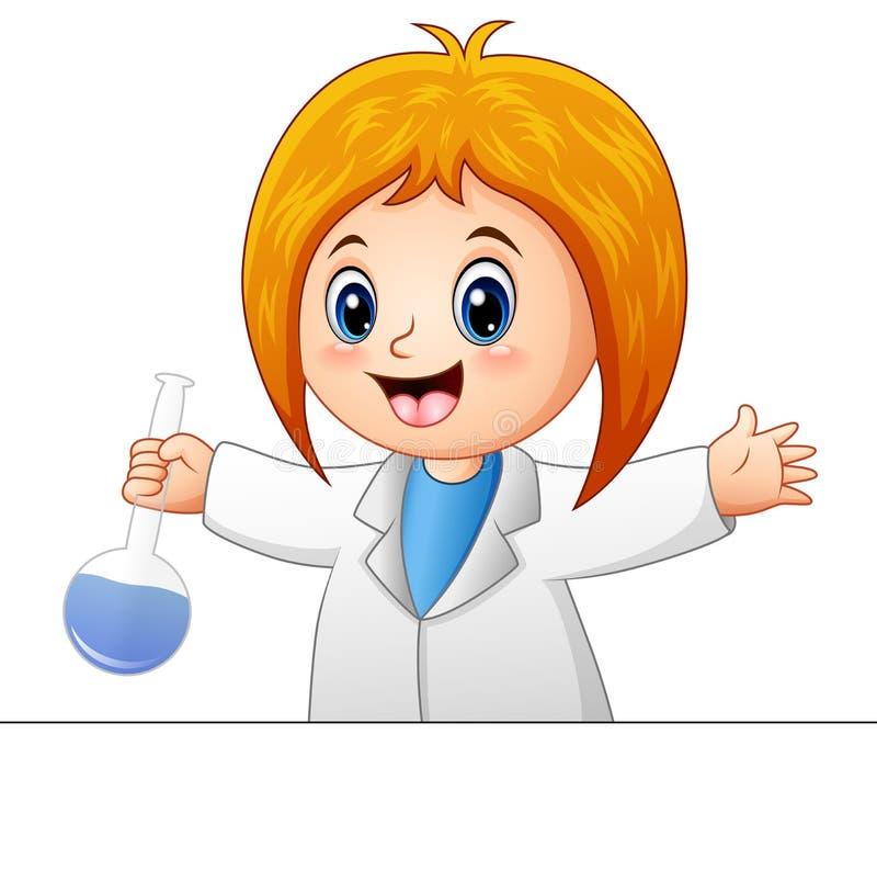 动画片科学家女孩 库存例证