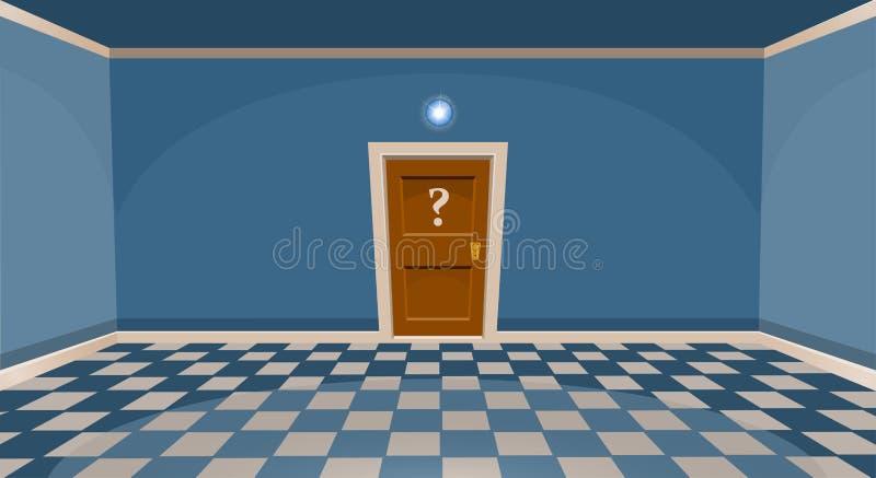 动画片秘密门概念 有门的空的室在蓝色样式 库存例证