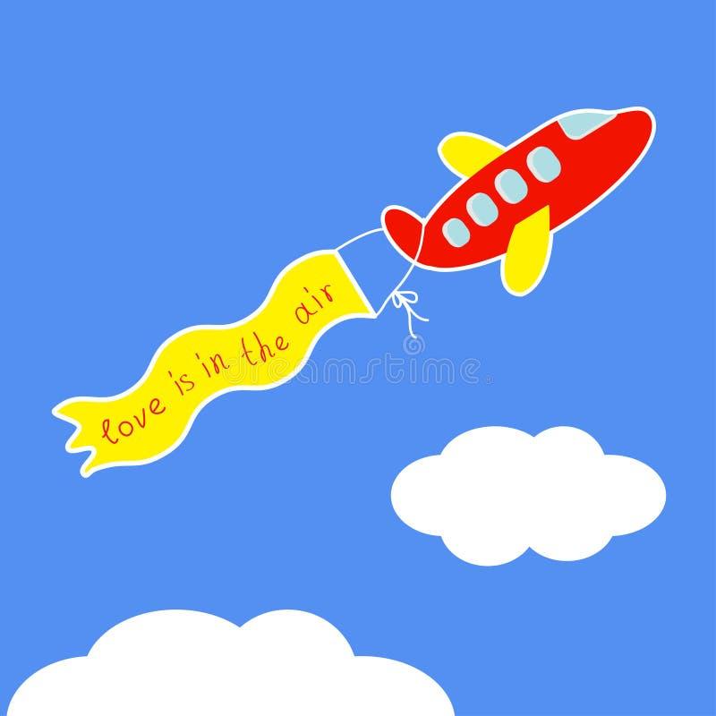 动画片红色飞机 充满词爱的丝带在空气平的设计 库存例证