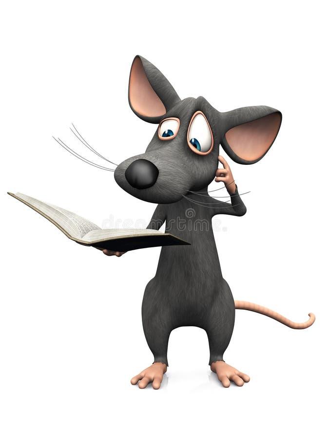 动画片老鼠阅读书和看混淆 皇族释放例证