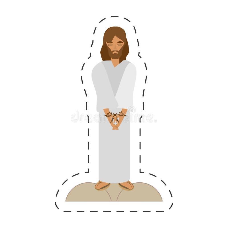 动画片耶稣基督通过crucis判了刑死亡- 库存例证