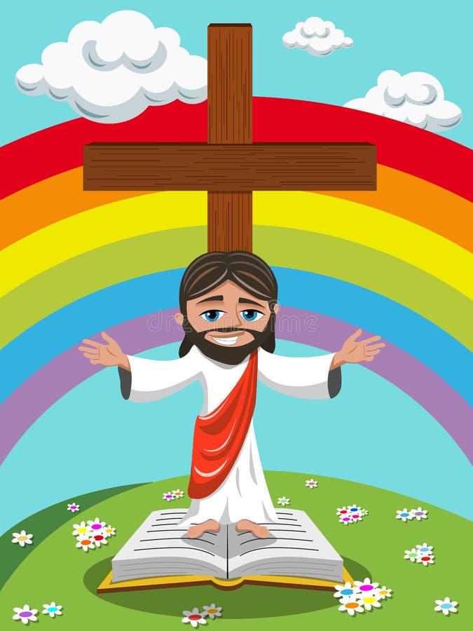 动画片耶稣开放胳膊福音书圣经草甸 皇族释放例证