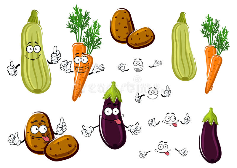 动画片茄子、红萝卜、土豆和夏南瓜 库存例证
