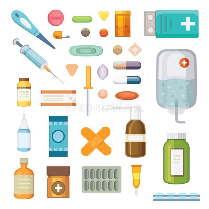 动画片药剂 不同的医疗药片和瓶、医疗保健和购物,药房,药店 向量 库存例证