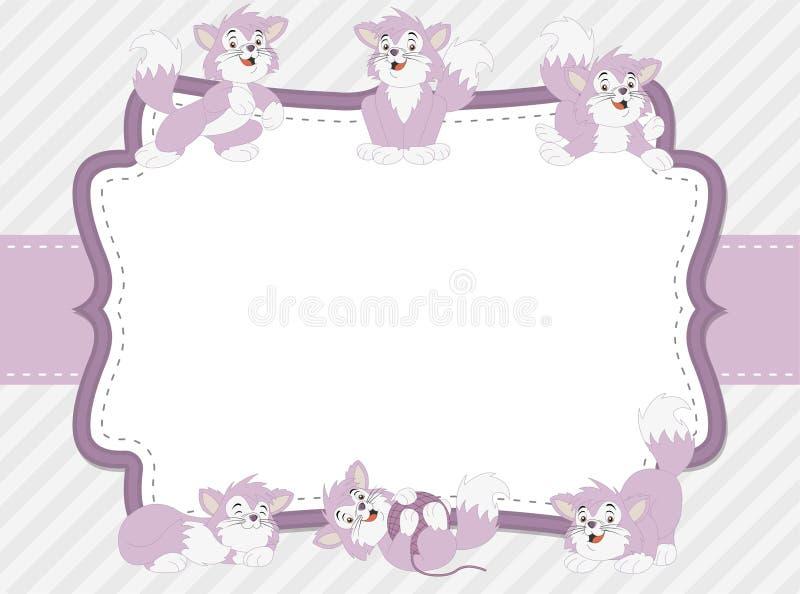 动画片蓝色小猫 逗人喜爱的嬉戏的猫 向量例证