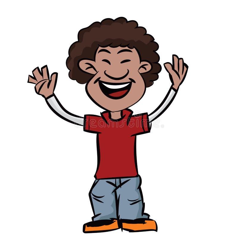 动画片蓬松卷发有微笑的头发男孩-导航clipart例证 皇族释放例证