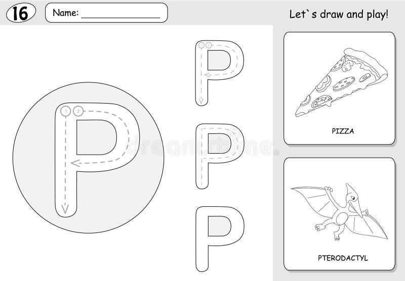 动画片薄饼和翼手龙 字母表追踪的活页练习题:writi 库存例证
