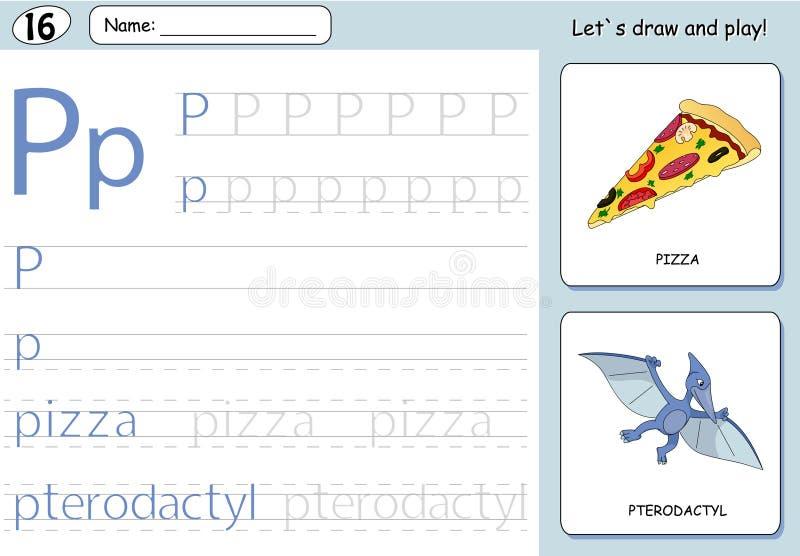 动画片薄饼和翼手龙 字母表追踪的活页练习题 向量例证