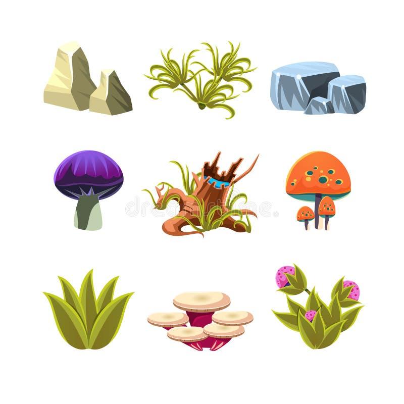 动画片蘑菇、石头和灌木被设置的传染媒介 向量例证