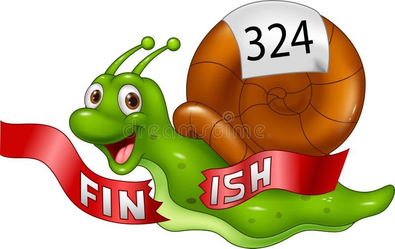 动画片蜗牛跨过单独终点线作为优胜者 库存例证