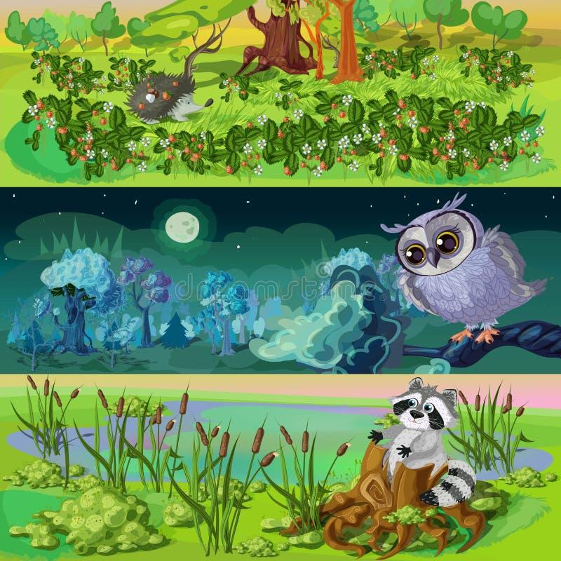 动画片被设置的动物横幅 向量例证