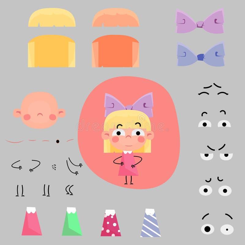 动画片被设置的女孩字符 向量例证