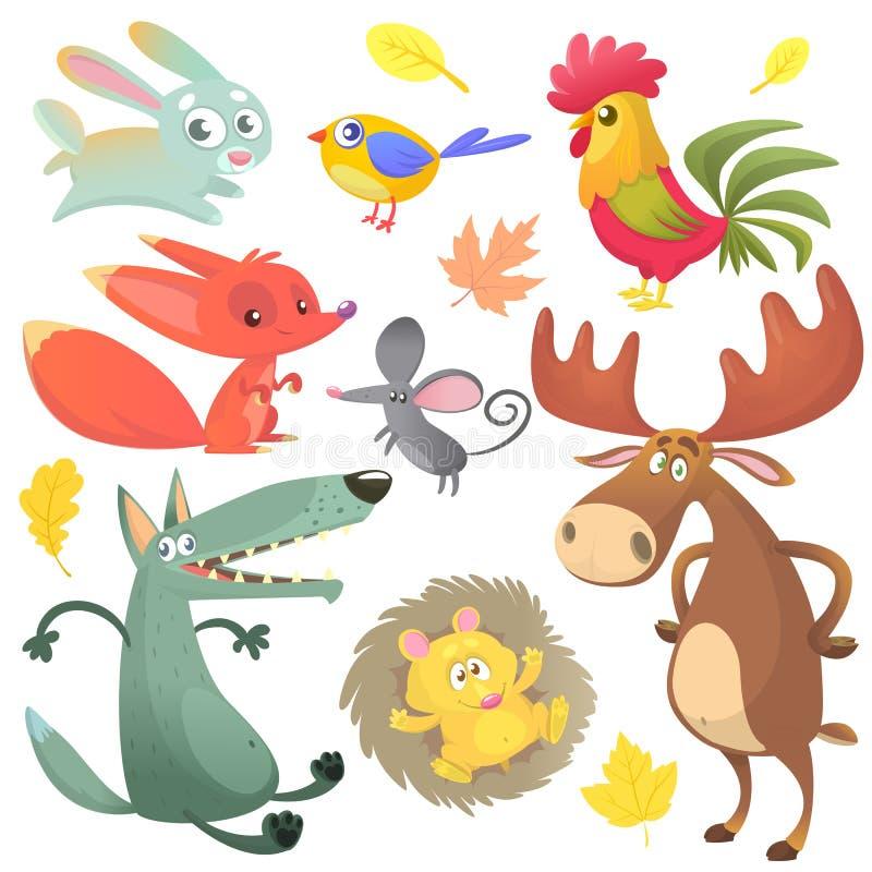 动画片被设置的牲口 导航兔子、雄鸡、狐狸、老鼠、狼、猬、麋麋和蓝色黄色鸟的例证 皇族释放例证
