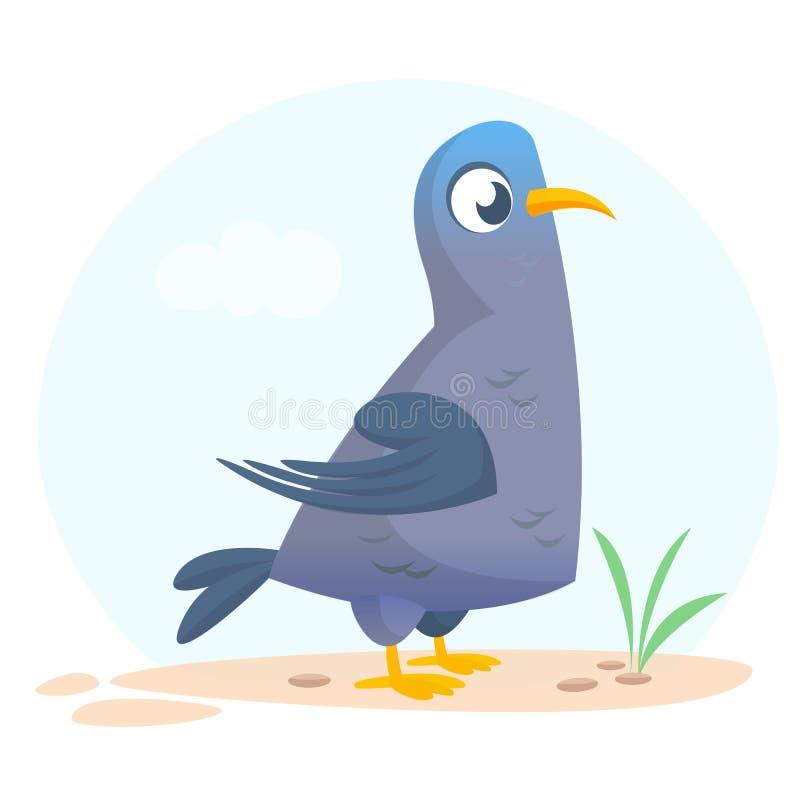 动画片被隔绝的传染媒介鸽子 滑稽的鸠鸟象  向量例证