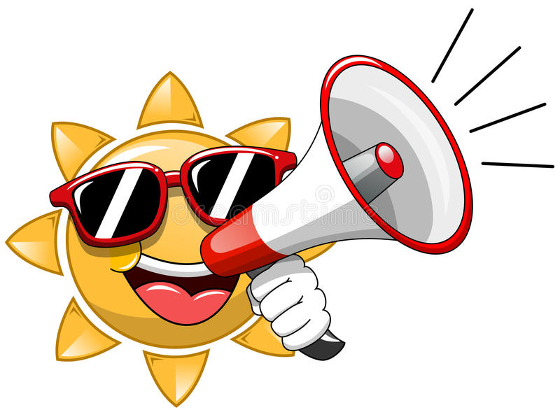 动画片讲太阳的太阳镜扩音机 向量例证