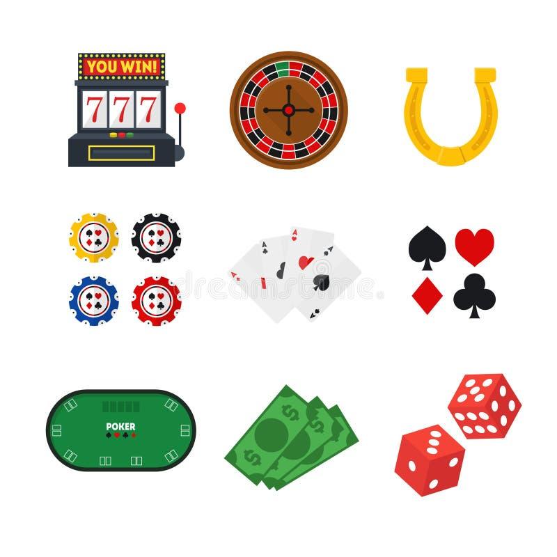 动画片赌博娱乐场集合 向量 库存例证