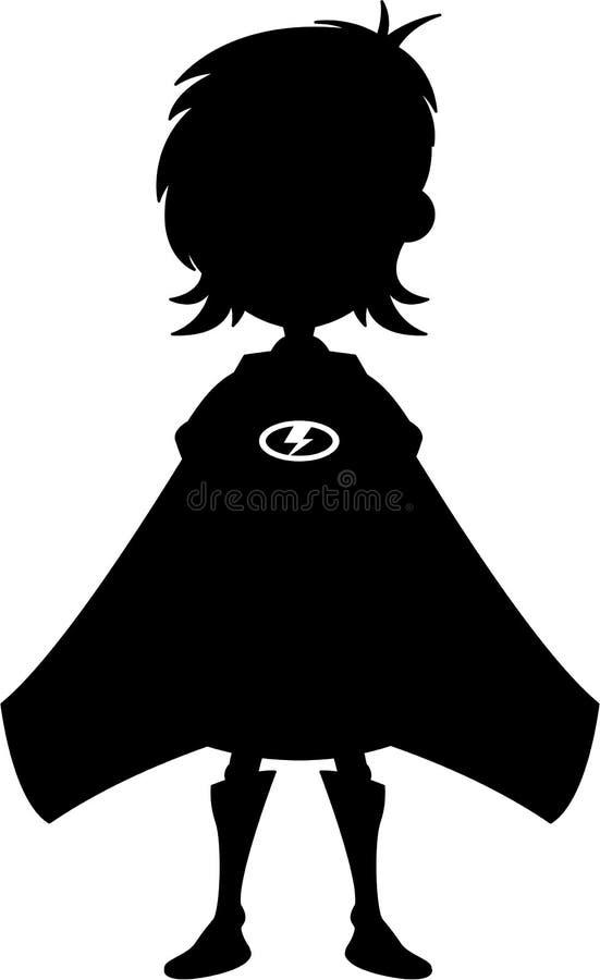 动画片超级英雄女孩剪影 向量例证