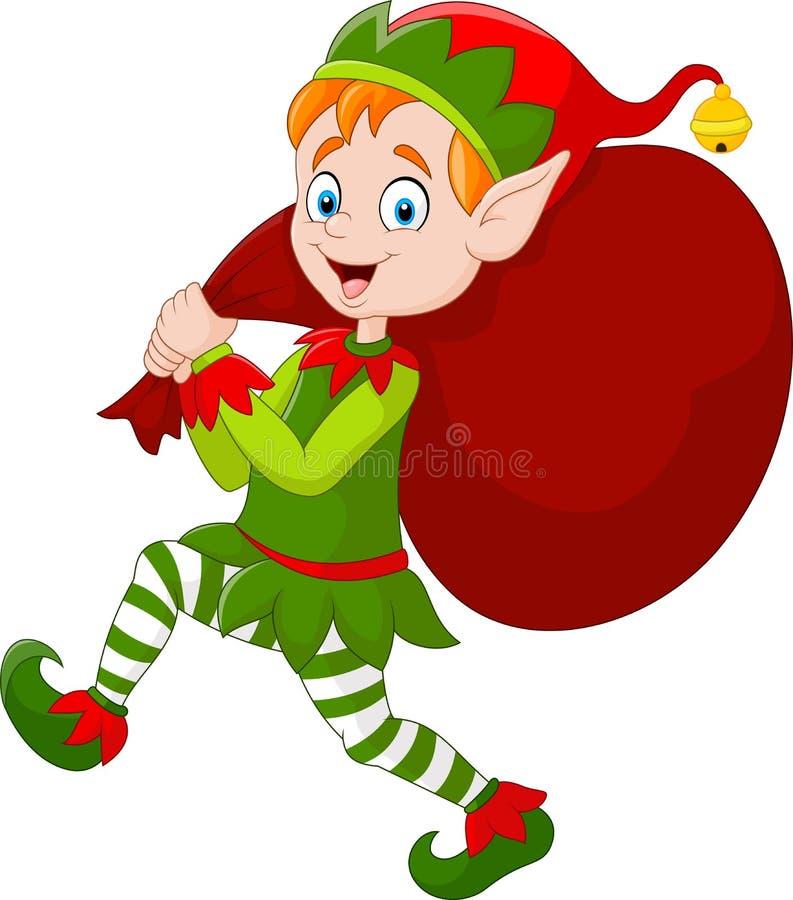 动画片运载袋子礼物的圣诞节矮子 皇族释放例证