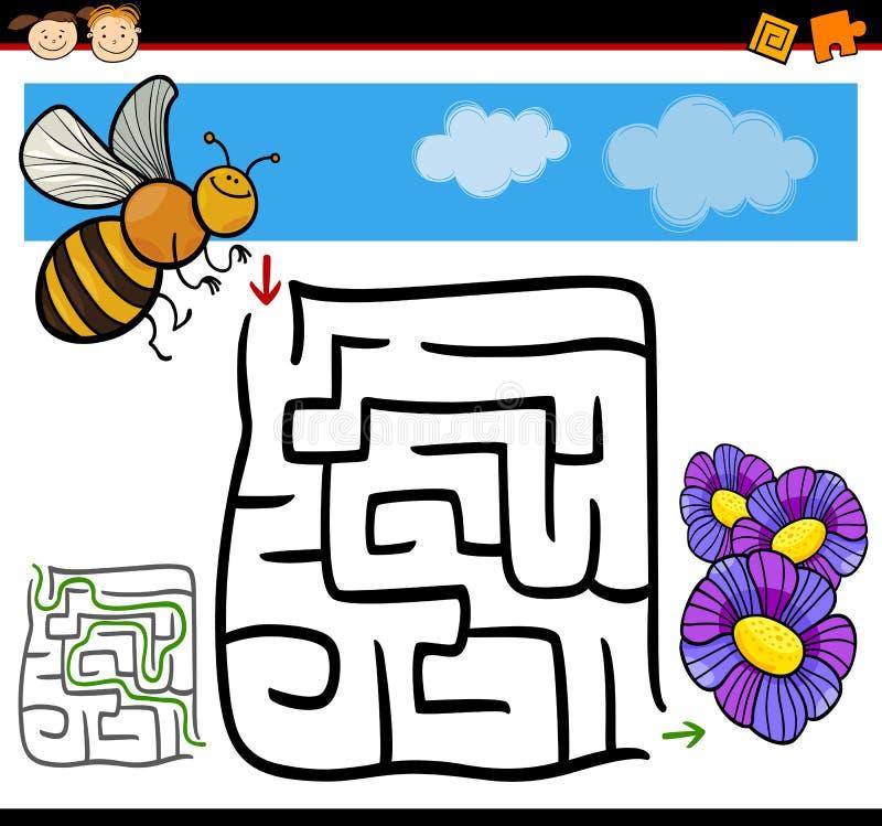 动画片迷宫或迷宫比赛 向量例证