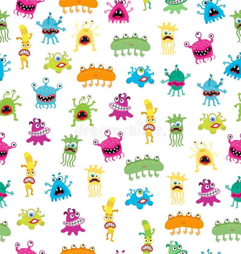 动画片逗人喜爱和滑稽的妖怪和bacterias 在白色隔绝的传染媒介无缝的样式 向量例证