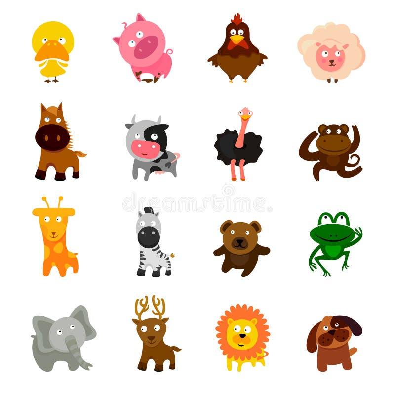 动画片逗人喜爱的动物集合 库存例证