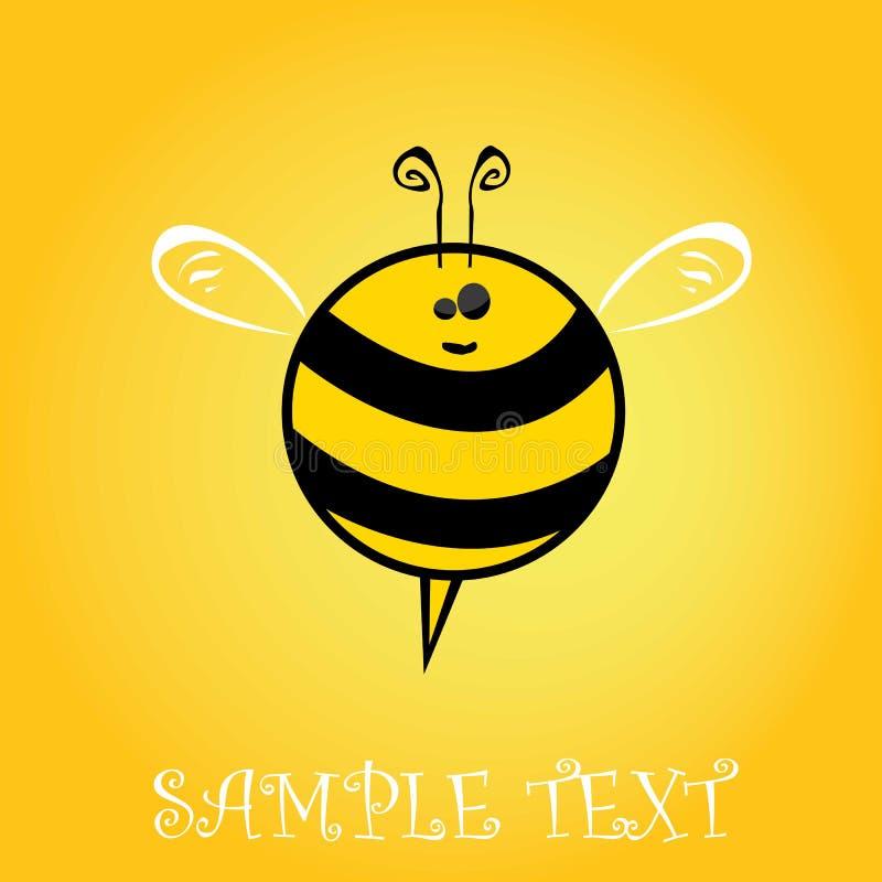 动画片逗人喜爱的明亮的小蜂。传染媒介例证。 库存例证