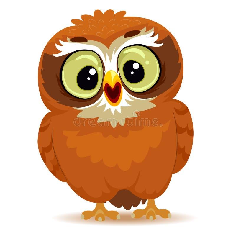 动画片逗人喜爱的猫头鹰 向量例证