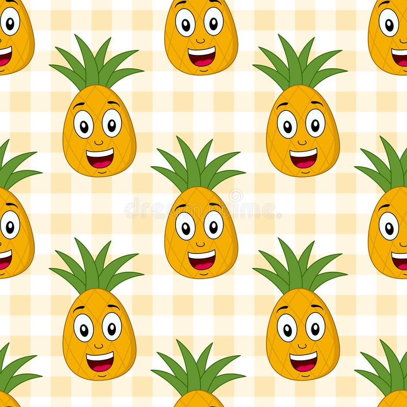动画片逗人喜爱的菠萝无缝的样式 向量例证