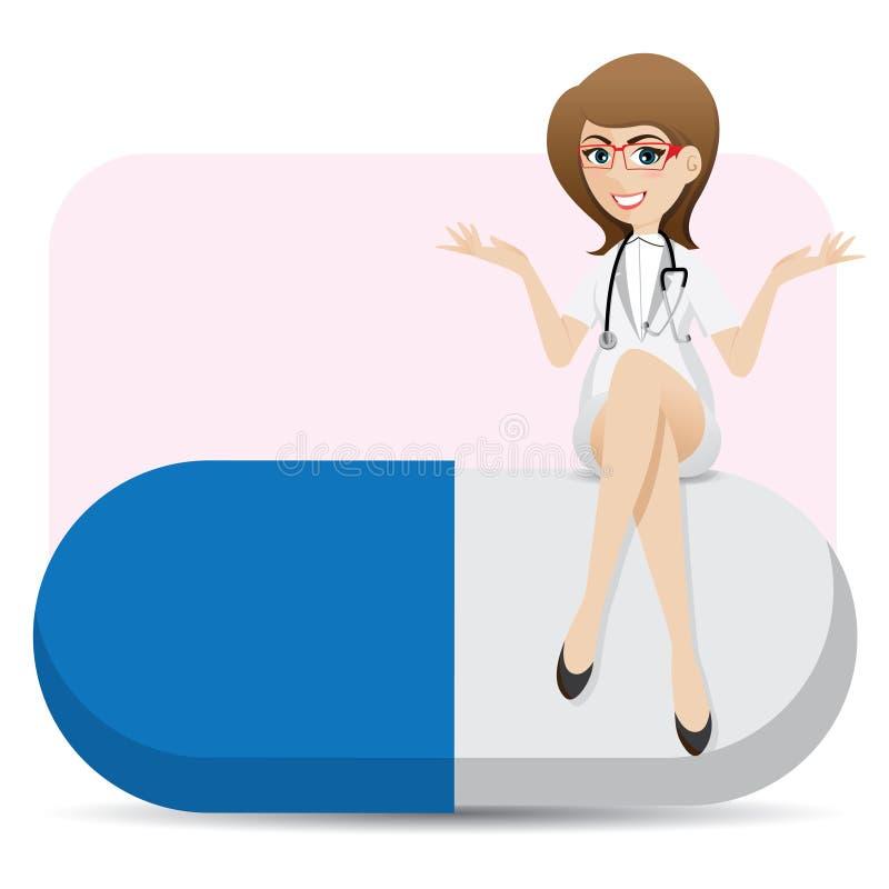 动画片逗人喜爱的医生坐大胶囊 库存例证