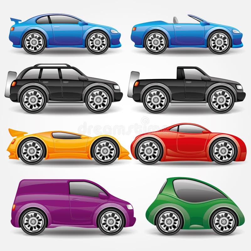 动画片重点极性集向量 汽车象 向量例证