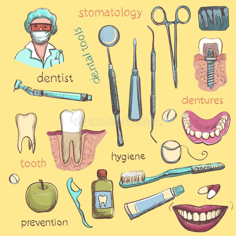 动画片重点极性集向量 牙医和牙关心象 向量例证