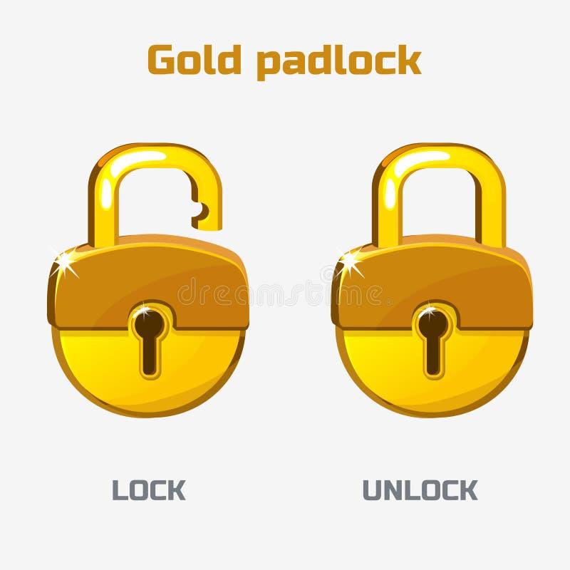 动画片金挂锁 锁定开锁 向量例证