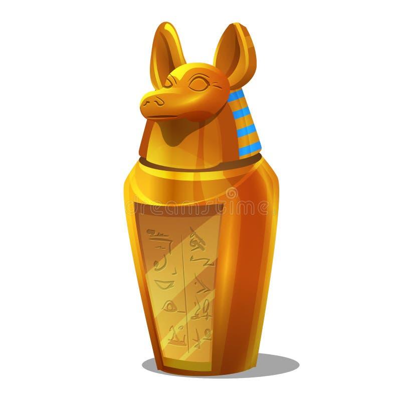 动画片金黄成就,埃及人在白色背景隔绝的Anubis小雕象 库存例证