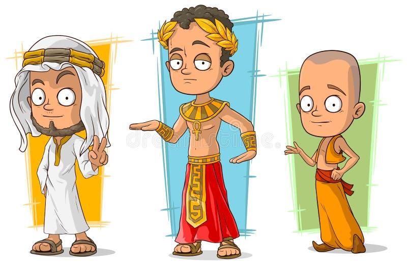 动画片阿拉伯埃及和亚洲男孩字符传染媒介集合 皇族释放例证