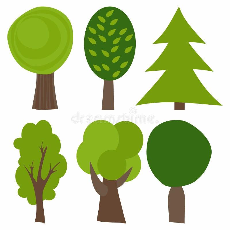 动画片集合结构树 也corel凹道例证向量 绿色结构树 皇族释放例证
