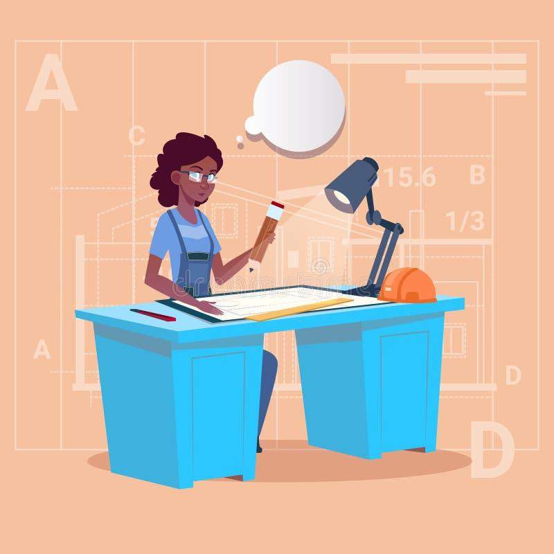 动画片非裔美国人的建造者在运转的书桌坐图纸大厦计划建筑师工程师妇女 皇族释放例证