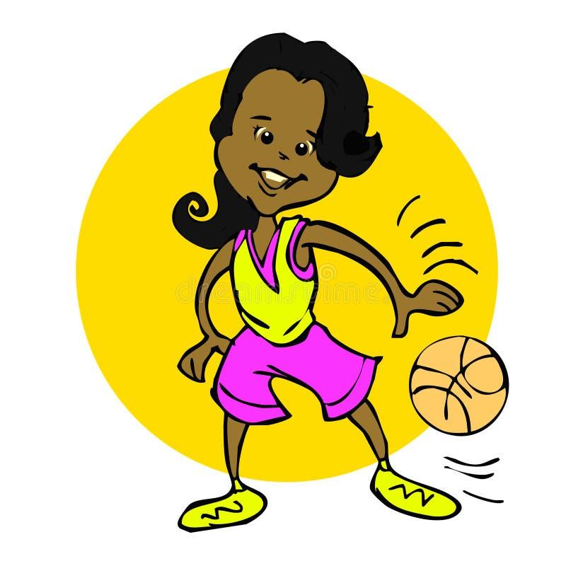 动画片非洲,拉丁美州,印地安语,篮球女孩 向量例证
