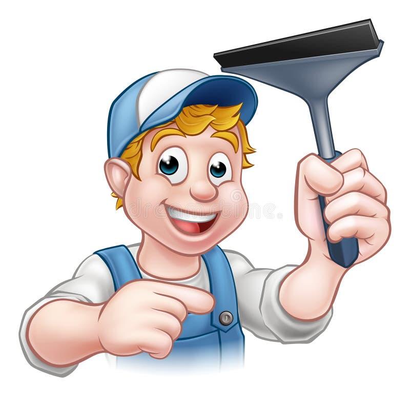 动画片风窗清洁器橡皮刮板字符 库存例证