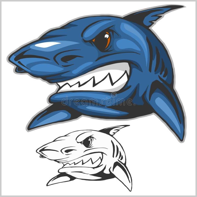 动画片鲨鱼吉祥人 也corel凹道例证向量 皇族释放例证