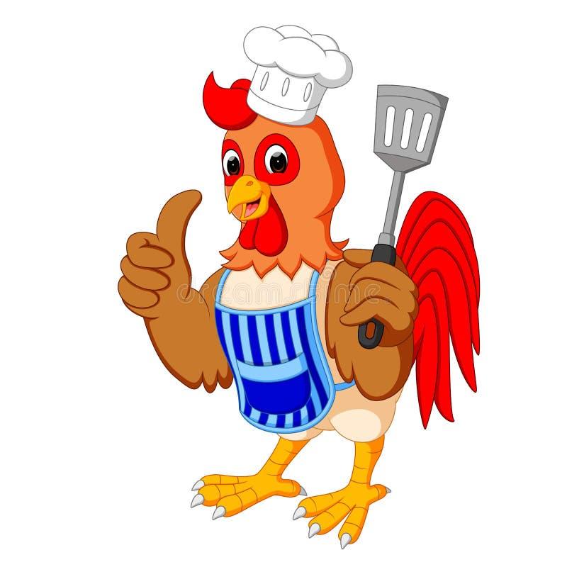 动画片鸡厨师 向量例证