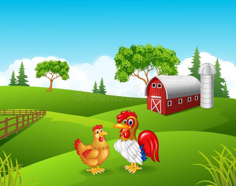 动画片鸡雄鸡在农场 向量例证
