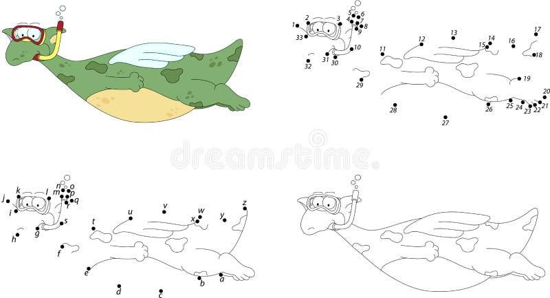 动画片龙潜水者 加点孩子的比赛的彩图和小点 皇族释放例证