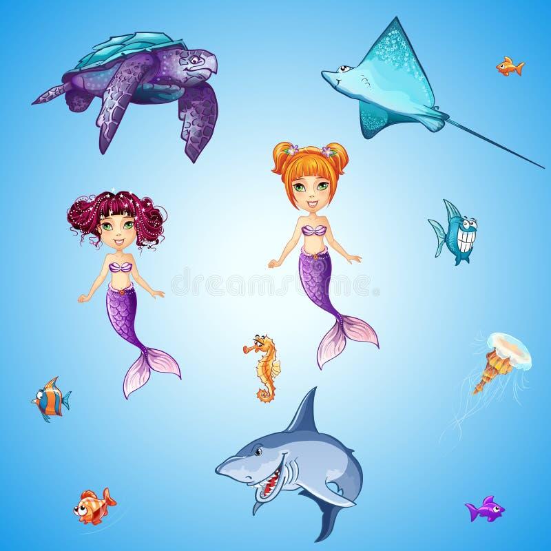 动画片水下居民、美人鱼、鱼,头骨和其他的套 皇族释放例证